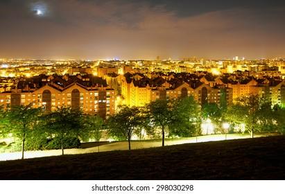"Panoramic Night View of Madrid, Spain. Photo taken from the hills of ""Tio Pio Park Vallecas""."