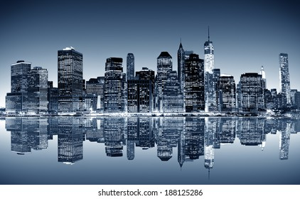 Panoramic night view of Manhattan. New York city.