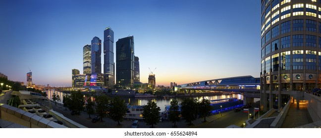 Panoramic night view on Moscow-City business center from Bagration business center. Biggest office center. Moscow cityscape panorama. Business and financial center. International companies office