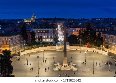 Panoramic night view of Piazza del Popolo. Rome, Italy