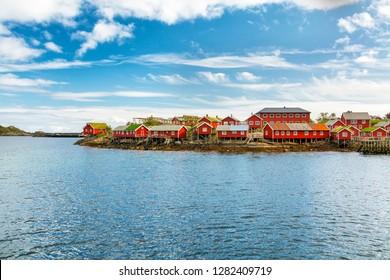 Panoramic ocean view of the fisherman village of Reine. Red wooden houses, rorbuer. Hamnoy, Lofoten islands, Norway.