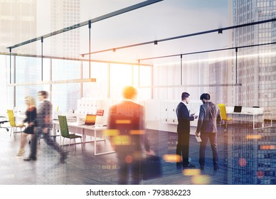 Panoramic office corner with a concrete floor and yellow, red and black chairs near white computer desks. Business people 3d rendering mock up toned image double exposure