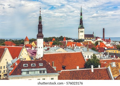 Panoramic of old town of Tallinn with St. Olaf tower and St.Nicholas church in sunny day
