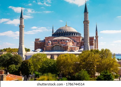 Panoramic outdoors vien of the Hagia Sophia mosque a former Greek Orthodox Christian patriarchal cathedral, later an Ottoman imperial mosque afterwards a museum and recently a mosque again.