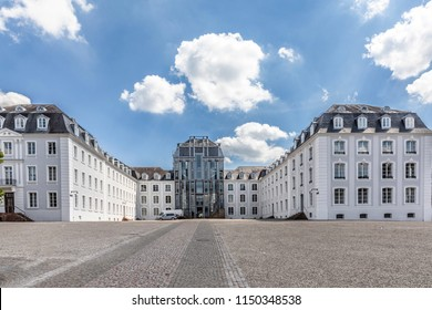 panoramic outside view to  castle in Saarbruecken under blue sky