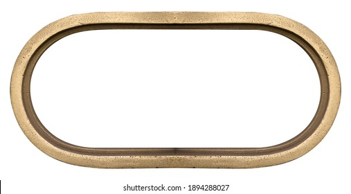 Panoramic oval golden frame for paintings, mirrors or photo isolated on white background. Design element with clipping path