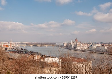 Panoramic overview of Budapest on foreground the Parliament building, Hungary