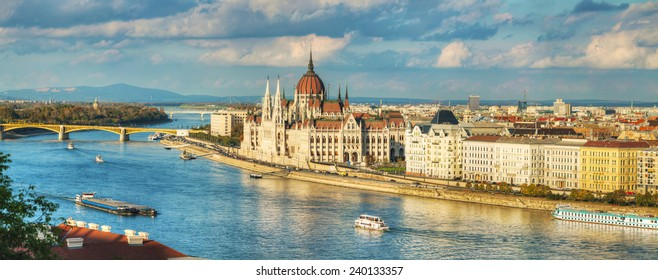 Panoramic overview of Budapest with Parliament building