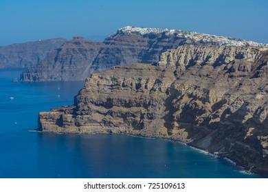 Panoramic overview of Santorini, Thira, Greece, over the Caldera, Aegean sea.