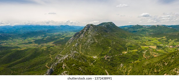 Panoramic of a peaceful valley of hills in southern France, Aude department from the Queribus cathar castle