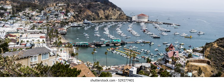 Panoramic photo of Avalon Harbor, Catalina Island