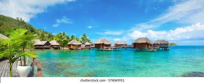 Panoramic Photo of Bora Bora resort, Tahiti, French Polynesia
