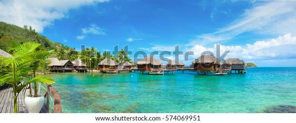 Panoramic Photo Bora Bora Resort Tahiti Royalty Free Stock