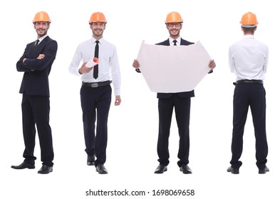 panoramic photo collage of architect expert isolated on white