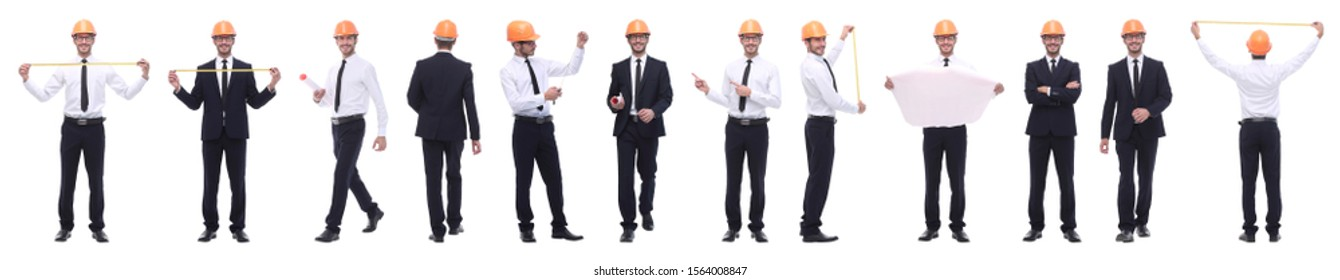 panoramic photo collage of confident architect isolated on white