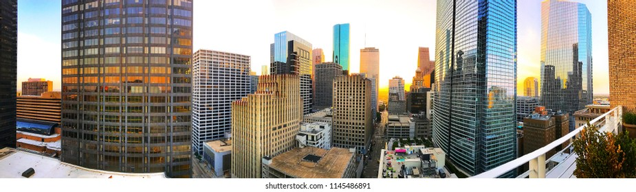 A panoramic photo of Houston's famous downtown skyline.