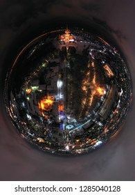 panoramic photo in the form of a sphere of night Ryazan near the Ryazan Kremlin