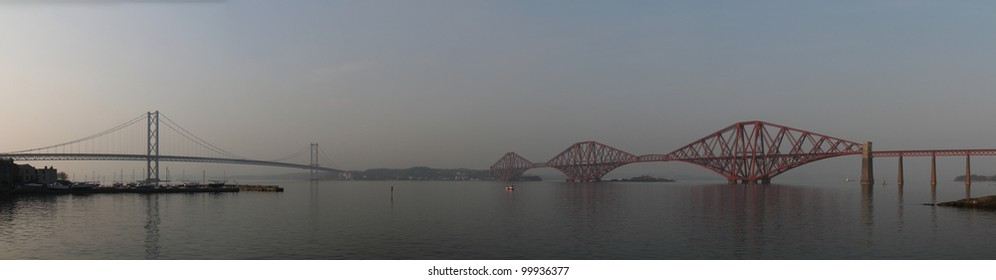 Panoramic photo of the Forth bridge in South Queensferry. Panorama made attaching together various photos.