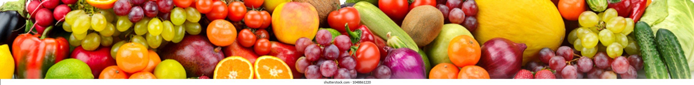 Panoramic photo healthy vegetables, fruits and berries. Agricultural background.