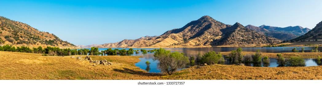 Panoramic photo of Lake Kaweah. The lake is water reservoir on Kaweah river beneath Sierra Nevada mountains, California, USA