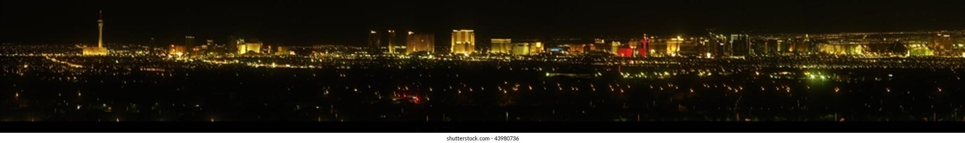 Panoramic photo of Las Vegas in 2008 at night.