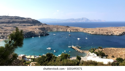 A panoramic photo of Lindos. A very popular town on the Greek island of Rhodes.