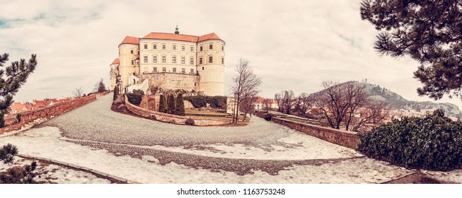 Panoramic photo of Mikulov castle and holy hill, Czech republic. Travel destination. Beautiful place. .