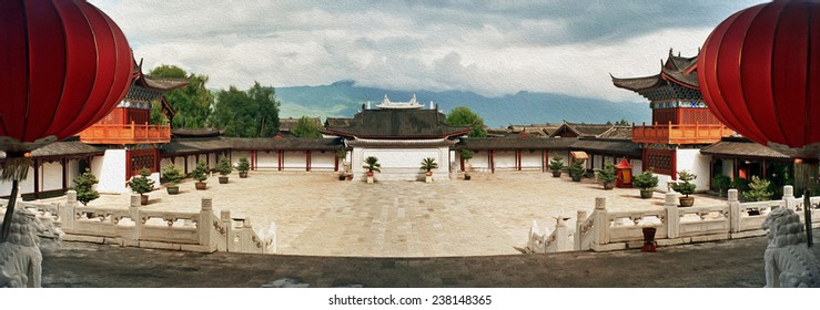 panoramic photo of ornamental courtyard of palace in lijiang, china,  stylized and filtered to look like an oil painting