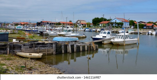 Panoramic photo of ostreicole harbor of La Teste de Buch, commune is a located on the shore of Arcachon Bay in France