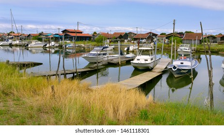 Panoramic photo of ostreicole harbor of La Teste de Buch, commune is a located on the shore of Arcachon Bay, in the Gironde department in southwestern France.