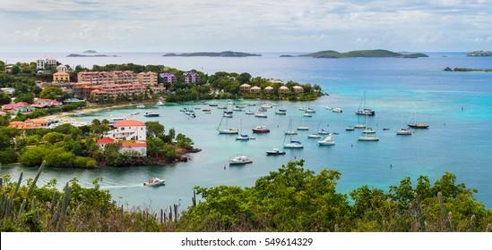 Panoramic photo overlooking Cruz Bay on St. John in the Virgin Islands.