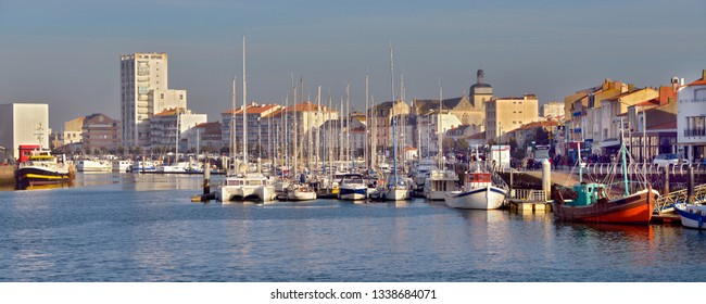 Panoramic photo of port of Les Sables d'Olonne, commune in the Vendée department in the Pays de la Loire region in western France