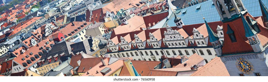 Panoramic photo of red roofs of Munich city in Germany