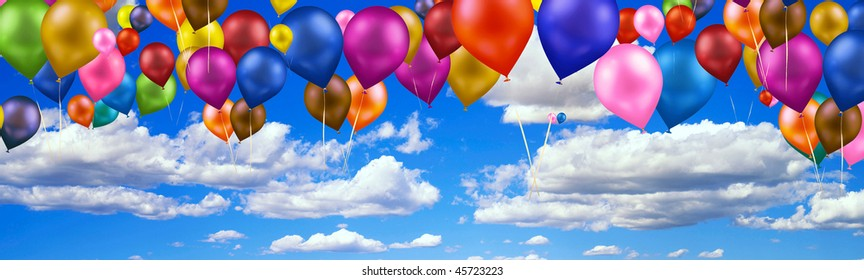 Panoramic photo of the sky with clouds and balloons