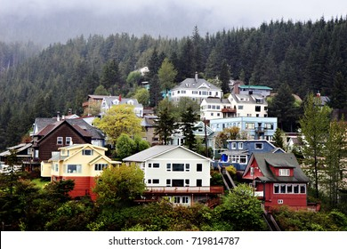 A panoramic photo of the town of Ketchikan, Alaska, a city facing the Inside Passage, a popular cruise route along Alaska's south eastern coast.