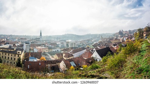 Panoramic photo of Trebic town, Czech republic. Travel destination. Architectural theme.
