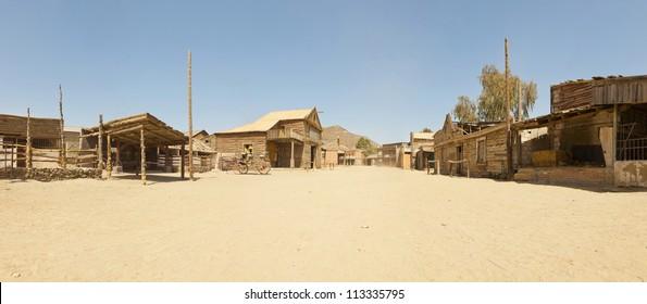 Panoramic photo of the western movie town Fort Bravo. Texas Hollywood. Desierto de Tabernas, Almeri�a. Andalusia. Spain.