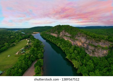 A panoramic photo of the White River taken at Buffalo City Arkansas.