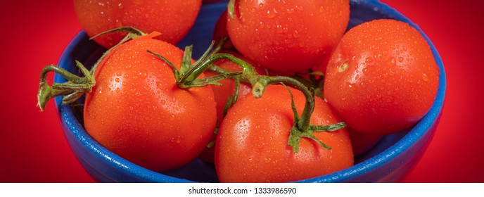 Panoramic photograph of fresh, organic tomatoes in a blue bowl.