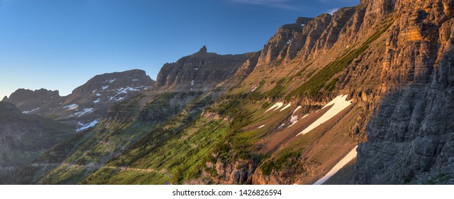 Panoramic photograph of Highline Trail at sunset in Glacier National Park, Montana.