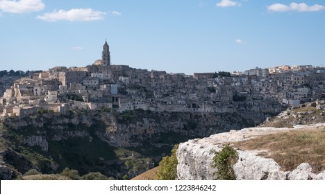 Panoramic photograph of houses built into the rock in the historic cave city of Matera (Sassi di Matera), Basilicata Italy. Matera has been designated European Capital of Culture for 2019.