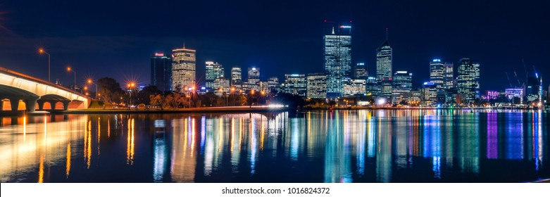 Panoramic photograph of Perth city skyline. Perth, Western Australia, Australia. Photographed: June 7th, 2017.