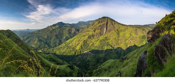 Panoramic picture of Beautiful Morning at little Adams peak in Ella, Sri Lanka.