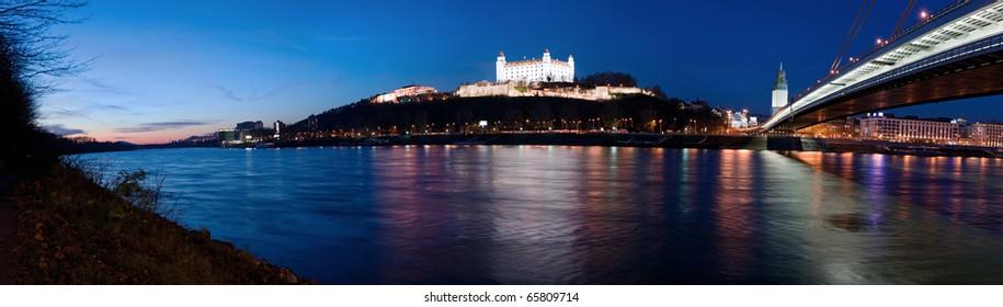 panoramic picture of Bratislava at dusk, Slovakia