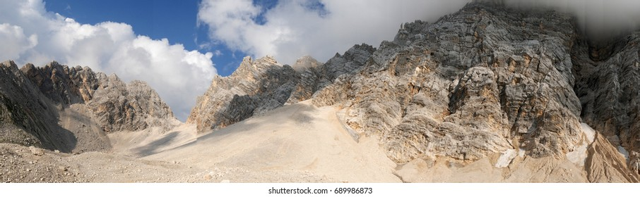 a panoramic picture of the dolomites, Italy in the mount Pelmo massif.