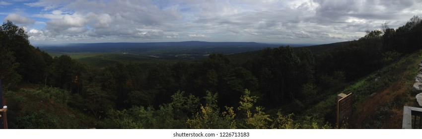 Panoramic picture of four states Pennsylvania, Virginia, West Virginia, Maryland on a sunny day from the four state overlook at Cacapon State Park, near Berkeley Springs, West Virginia, USA