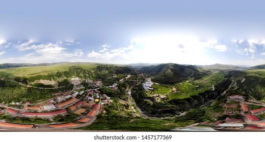 Panoramic picture of Jermuk resort city in Armenia