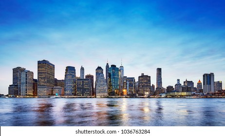 Panoramic picture of the Manhattan skyline at dusk, New York City, USA.