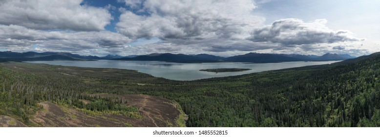 Panoramic picture of the Rock Glacier Trail in the Kluane National Park near Haines Junction in the Yukon with the Dezadeash Lake in the background.