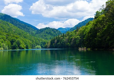 Panoramic picture-postcard view of Black Lake. Durmitor, Montenegro.